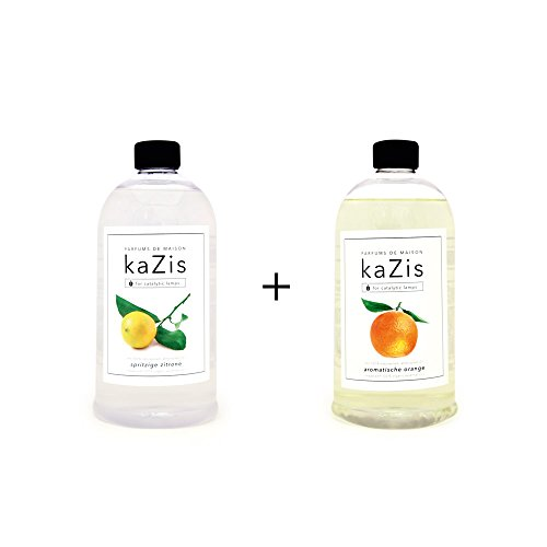 Berger Lampe Lavendel-öl (KAZIS WELT I PARFUMS DE MAISON – 2 x 1 Liter I Duft-Set Zitrone + Orange Alternative für d. Lampe Berger I Duft Öl I Nachfüllöl (Refill) I Raum Duft I Parfum I 2 x 1000 ml)