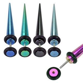 Faux Piercing écarteurs en acier chirurgical 316L Taille 1,2 mm Bleu ciel