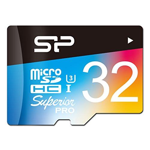 SP/Silicon Power 32GB Superior Pro microSDHC UHS-1 Class 10 Memory Card, Read/write bis zu 90/80 MB/s für High-Speed-Serienaufnahmen und 4k-Videoaufzeichnung (U3), mit SD Adapter