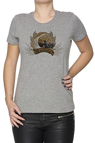 Mustang Donna T-shirt Grigio Cotone Girocollo Maniche Corte Grey Women's T-shirt
