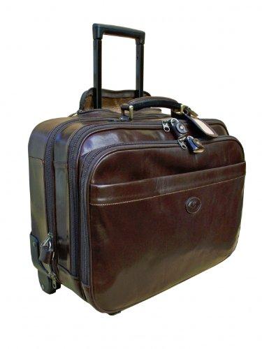 Ceancarel Valise de cabine en cuir fauve avec trolley
