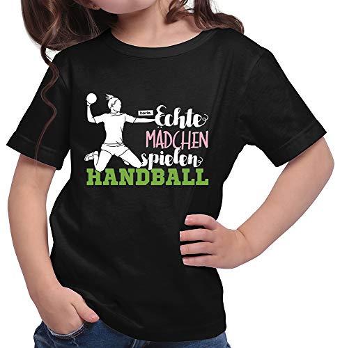 HARIZ  Mädchen T-Shirt Echte Mädchen Handball Sportlich Plus Geschenkkarte Schwarz 152/12-13 Jahre