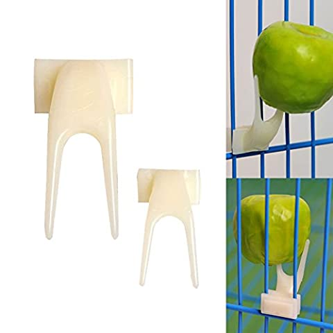 BENHAI 1PC Fruit Fork Plastic Feeder Set Dispositif Pet tool creative bird pet supplies (2, blanc)
