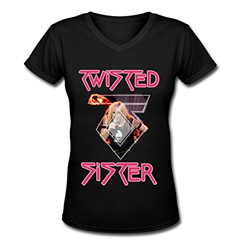 Desolate Women's Twisted Sister Band T-shirts V-Neck (Sister-t-shirt Twisted)