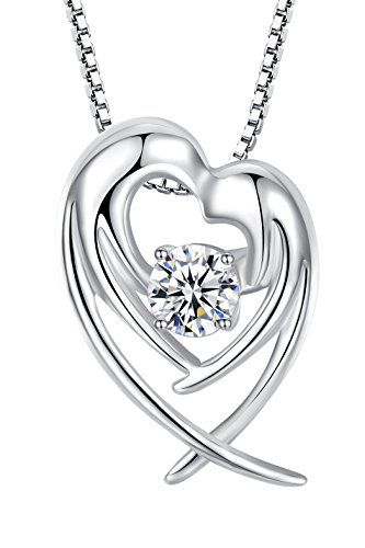 Sterling Silver Womens 1mm Box Chain Angel In Prayer Heart Shape Pendant Necklace