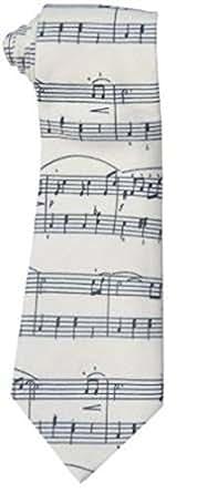La cravate des hommes en blanc avec des notes de musique motif sur elle