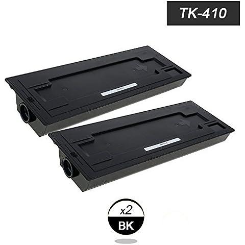 Doree 2er TK-410 Compatible cartucho de tóner para Kyocera Mita KM-1620/ 1635/ 2035/ 2050/ 2020/ 2550-2x Negro