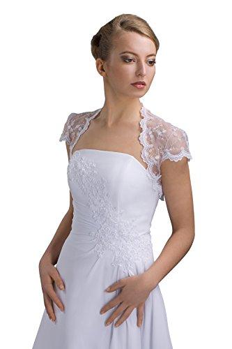 Braut Bolero kurzarm aus Tuell Spitze - E72 (L, weiß)