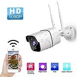 Cámaras de Vigilancia WiFi, Cámaras Bala 1080P IR LED Motion Detection, Visión Nocturna, Impermeable IP66 Cámara de Seguridad Exterior para Home Garden