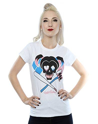 Suicide Squad mujer Harley Quinn Skull Emblem Camiseta Small Blanco