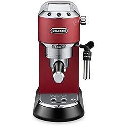 De'longhi Dedica EC685.R - Cafetera de bomba, acero inoxidable, capuccinatore, depósito 1,3 litros, sistema anti-goteo, café molido o monodosis, rojo