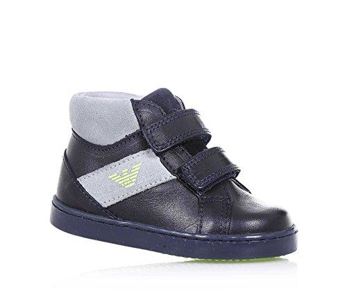 ARMANI - Chaussure bleue en cuir avec applications grises en croûte de cuir, avec double fermeture en velcro, logo latéral, coutures visibles, garçon, garçons
