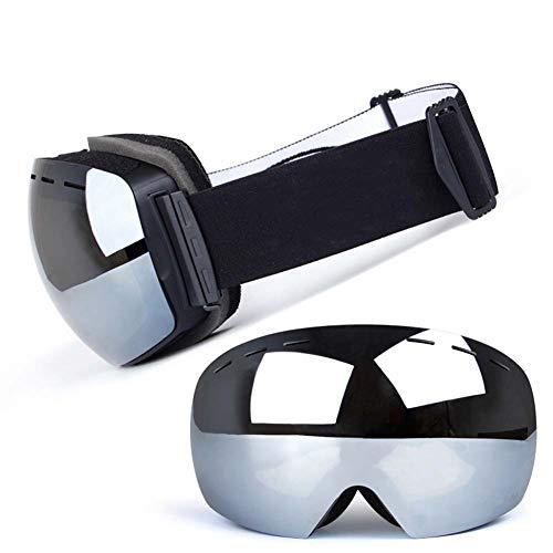 JXS-Goggles Skibrille, Doppelschichtlinse, Anti-Fog, Anti-UV, Schneesicher, Objektiv austauschbar, kann mit Myopie-Brillen verwendet Werden,G