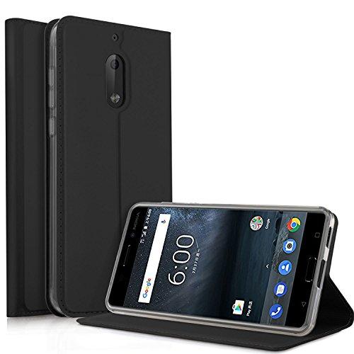 Nokia 6 2018 Hülle, iBetter Nokia 6 2018 Flip Bookstyle Kompletter Hüllen Mit Magnetverschluss & Standfunktion Tasche Etui Hüllen Schutzhülle für Nokia 6 Dual SIM Smartphone VERSION 2018(Schwarz)