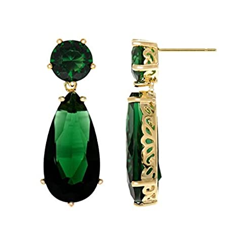 Inspired by Angelina Jolie's Emerald Earrings - Petite Gold Tone