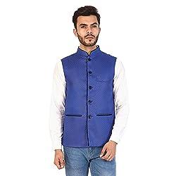 Vastraa Fusion Mens Chequered Blended Festive Blue Nehru Jacket/Waistcoat - 50 Size