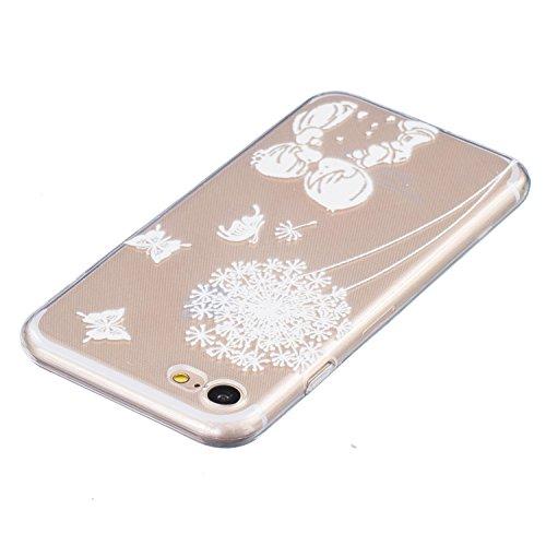 iPhone 7 Silikon Hülle iPhone 7 Case - Felfy Ultra Slim Weicher Gel Flexible TPU Transparent Case Schutzhülle Silikon Ultradünne Hülle Retro Farbe Blumen-Totems Muster Schutz Scratch-Resistant Handy H Kind