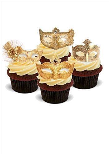 Maskenball Masken Mix in Gold - 12 essbare, aufrecht stehende Premium Esspapier Dekorationen - 12 Bilder, 2 A5 Blätter