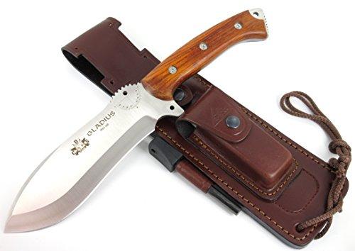 GLADIUS-COCO Premium Qualität - Professionell Überlebensmesser, Gürtelmesser, Outdoor/Survival Messer, Jagdmesser, Stahl MOVA-58, Lederscheide + Feuerstahl + Messer schärfer. Entworfen
