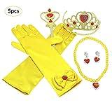 Gaeruite Juego de accesorios para vestir de princesa – 5 piezas por juego accesorios para vestir amarillo con corona de vientre