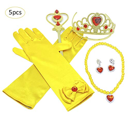 Awhao 5PCS Yellow Princess Dress Accessories Holiday Dress Up Accessories Set with Gloves Crown Scepter Necklace Earrings