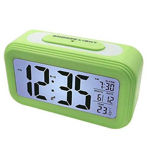 EASEHOME Digitale Wecker Reisewecker, Digitaluhr Wecker Alarm Clock Digitalwecker mit Großer LCD Display Datum und Temperatur Anzeige, Kinderwecker Snooze und Nachtlicht, Grün