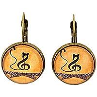Boucles d'oreilles cabochon * chat musicien * note de musique noir jaune moutarde bronze boucles pendantes en verre idée cadeau noël anniversaire fêtes