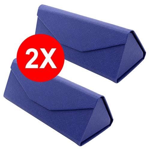 Tboc custodia pieghevole occhiali da sole - [pack: 2 unità] astuccio [blu] rigido [triangolare] con [chiusura magnetica] e fodera interna porta lenti vista lettura lavoro auto grande uomo donna