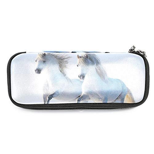 Desheze Weiße Pferde Große Kapazität Federmäppchen Federbeutel Tasche stationären Fall für Schulbüro,19x7.5x3.8cm (Pferd Stationär)