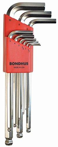 Bondhus 16999Ball End Spitze Hex Schlüssel Innensechskantschlüssel Set mit briteguard Finish und lange Arm, 9Stück - Ball-end Hex Set