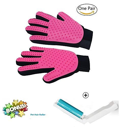 Haustier Handschuh für Tierhaare Fellpflege und Reinigung Bürste Hund Katze,Kommen Sie mit kostenlosem Fusselroller