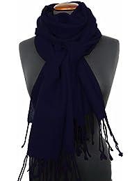 Nella-Mode XXL Wollschal (205x70 cm inkl Fransen); Feiner & weicher unifarbener Schal Tuch Stola aus 100% Wolle Damenschal in vielen Farben zur Auswahl