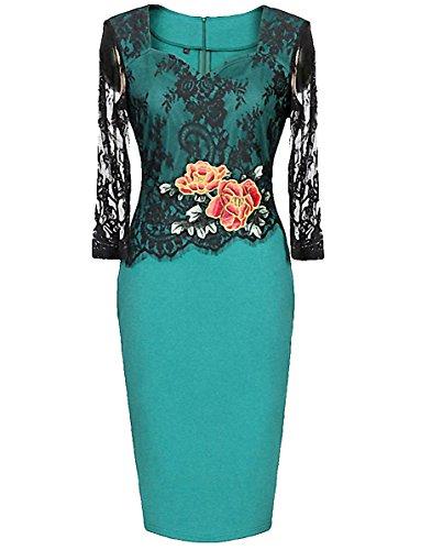ISSHE Damen Elegante Kleider 50s Vintage Strickkleid Cocktailkleid Blumenmuster Business Kleid Bleistift-Kleid (Strickkleid Wrap Style)