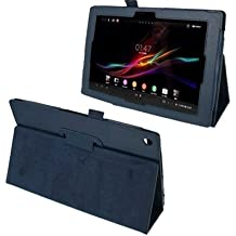 Wkae funda Litchi textura Funda de piel con soporte para Sony Xperia Tablet Z/10.1(color: azul oscuro)