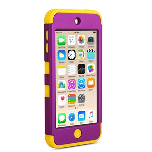 Boonix Apple iPod Touch 6 Case, High Quality Shockproof Cover, 3 in 1 Soft Silicone and Hard PC Hybrid Protective Bumper by (Yellow Trim/Royal Purple) Royal Trim