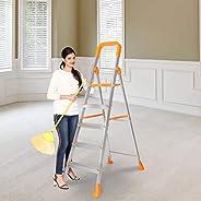 Happer Premium Foldable Aluminium Step Ladder, Clamber Pro, 5 Steps (Orange & Sa
