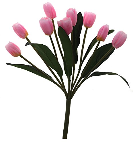 Fourwalls Beautiful Artificial Tulip Bunch (9 Flowers, Pink)