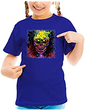 Billion Group | Skull In Bright Colors Skulls Collection Girls Classic Crew Neck T-Shirt