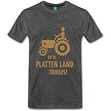 Opn Platten Land Tohuus Traktor Landwirt Platt Männer Premium T-Shirt von Spreadshirt®