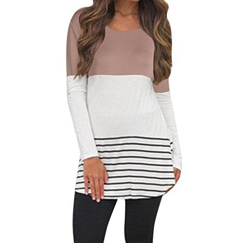 Sonnena Damen Rückseite Spitze Color Block Tops Lange Ärmel T-Shirts Blusen M khaki (Ein Womens Stück Kleidung)