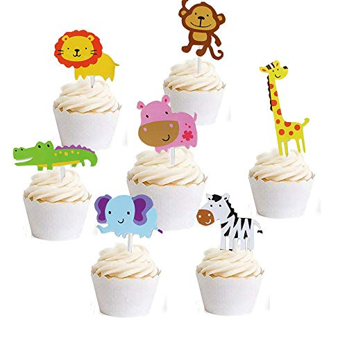 Hather 35 Stück Cupcake Deko Muffin Torten Kuchen süßer Zoo/Dschungel-Themed Tier Kuchendeckel Cupcake Topper für Geburtstag Kinder Löwe Nilpferd AFFE Elefant Zebra Giraffe Krokodil