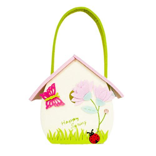 Amosfun Ostern-Eimer-Einkaufstasche Ostern Party Decor Bunny Basket Hausform monogrammiert