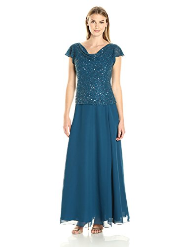 J Kara Damen Long Beaded Cowl Neck Flutter Sleeve Gown Dress Kleid, Teal/Multi, 44 Multi Cowl Neck
