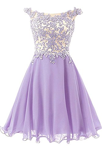 Royaldress Rosa spitze Aermellos Abendkleider Partykleider A-linie Prinzess Promkleider Festlichkleider Neuheit Lilac Kurz