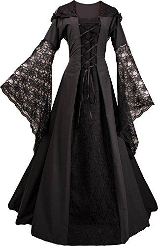 Dornbluth Damen Mittelalterkleid Eloise (36/38, Schwarz-Schwarz)
