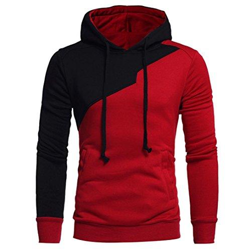 Sannysis Herren Langarm Kapuzenpullover Patchwork Hoodie Kapuzen Sweatshirt Tops Jacke Mantel Outwear (XL, Rot) (Herren Costumes)