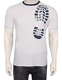 Gentle Men's Club Off-White Men's 100% Cotton Round Neck Half Sleeve Solid T-Shirt