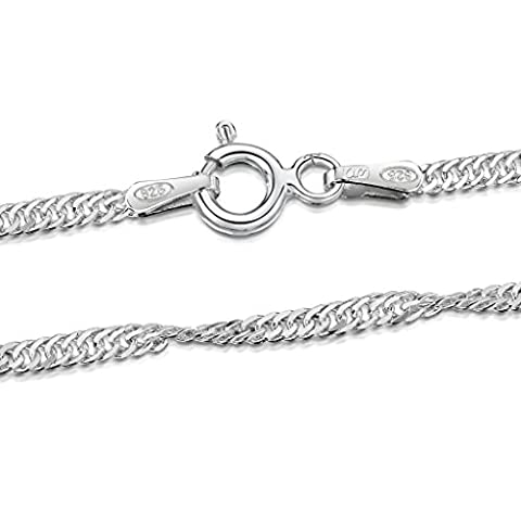 Amberta® Designer 925 Sterling Silver - Fine Singapore Twist Chain - Thickness 1.3 mm - (Collana Veneziana Catena)