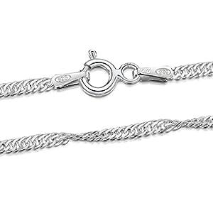 Amberta 925 Sterlingsilber Damen-Halskette – Singapurkette – 1.95 mm Breite – Verschiedene Längen: 40 45 50 55 60 70 cm
