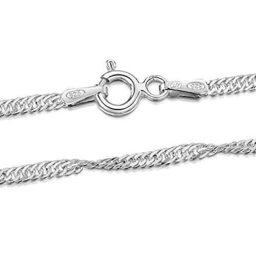 Amberta® Joyería - Collar - Fina Plata De Ley 925 - Cadena de Singapur - 2 mm - 40 45 50 55 60 70 cm
